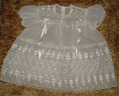 Lovely Vintage Sheer Eyelet Baby Dress Approx 12 Months?
