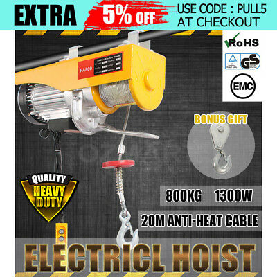 Electric Hoist Winch 400/800KG 1300W Rope Lift Tool Remote Chain Lifting Cable