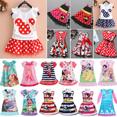 Kids Toddler Baby Girls Disney Party Princess Dress Cartoon Tutu Dresses Summer