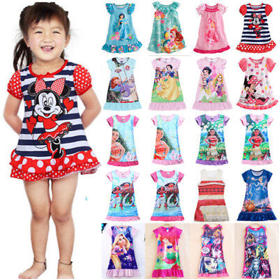 Girls Kids Moana Elsa Sleepwear Princess Dress Pj's Pyjamas Nightwear Nightgown