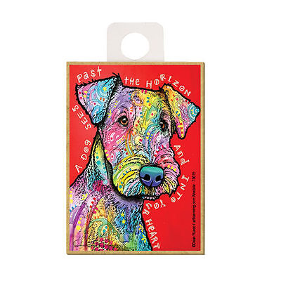 Airedale A Dog Sees Past The Horizon Into Your Dog Dean Russo Wood Fridge Magnet