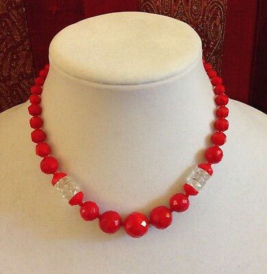Vintage Art Deco Red Faceted Glass Bead Necklace 16 1/4 Inches Long