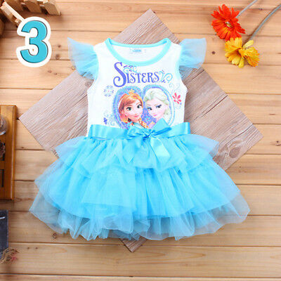 Kid girl Frozen Princess Elsa Anna Tutu Dress Flying  sleeve Casual Party dress