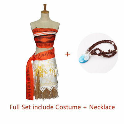 Girls Kids Moana Princess Costume Fancy Dress Necklace Children Cosplay 2Pcs Set