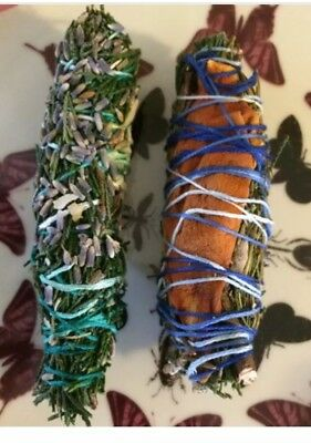 One Cedar Smudge Sticks with Lavender, Rosemary, Magnolia Bloom 6 In