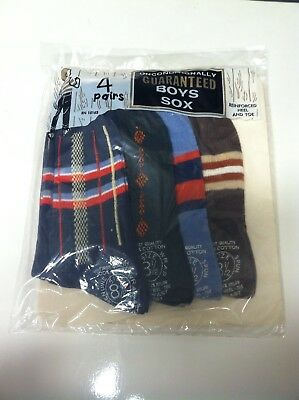 Vtg. 60's NOS boys Sox Socks 4 Pair NEW