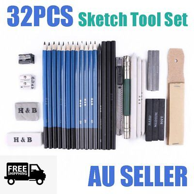32pcs Portable Charcoal Drawing Sketch Pencil Set Non-toxic Paper Pen w/Bag FN