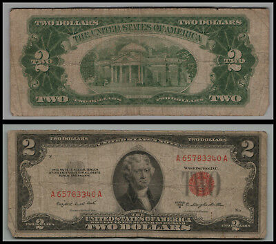 (1)-1953B  $2 Two Dollar Bill  United States Note Red Seal LT V575