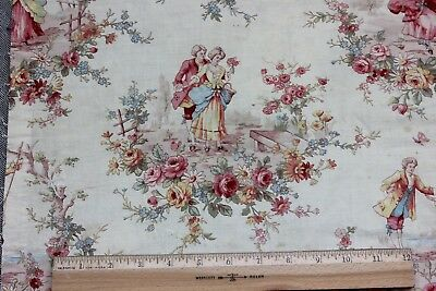 French Antique Marie Antoinette Printed Cotton Toile Fabric Panel c1900