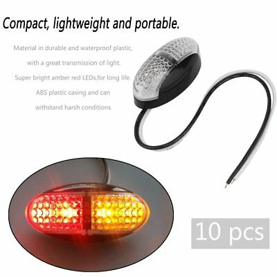 10PCS Red Amber Side Marker 12V 24V DC Durable Tail Light LED Side Marker FN