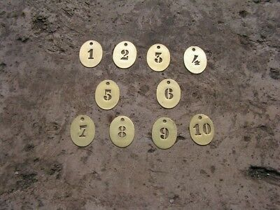 Lot Of 10 X Old Vintage French Brass Tags Numbered Hotel Cows