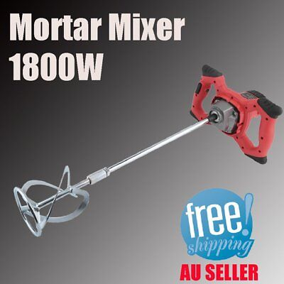 Electric Drywall Mortar Mixer 1800W Plaster Cement Tile Adhesive Render Paint FO