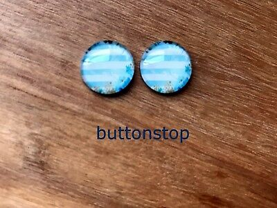 2 x 12mm glass dome cabochons - blue & white stripe with gold flowers
