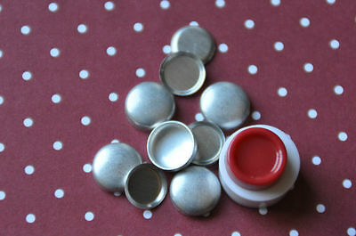 10 x self cover metal flat back buttons size 20 (12mm) + TOOL