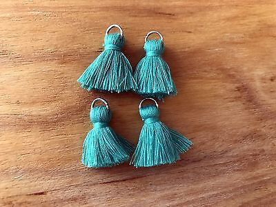 4 x Cotton Tassels 20mm 2cm Long - TEAL - great for earrings & accessories