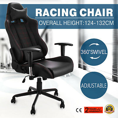 Racing Office Gaming Computer Chair PU Leather Armrests 360°Swivel Luxury