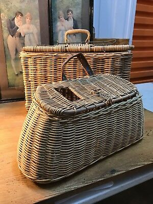 Pair of Vintage Cane Fishing Picnic Creel Baskets Shop or Home Display
