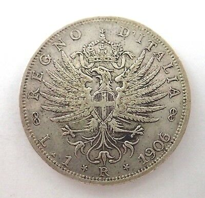 Italy  1906 Silver  Lira Coin -  Reasonable Condition