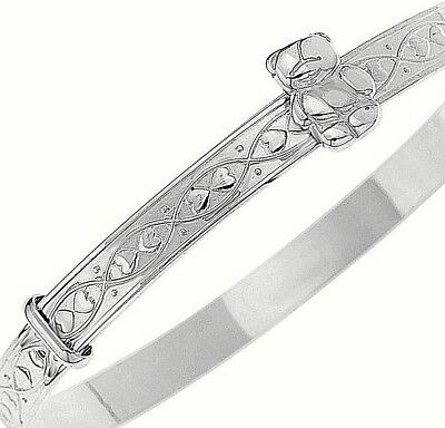 925 Solid Silver Baby's Christening Bangle Birthday Bracelet Teddy & Hearts