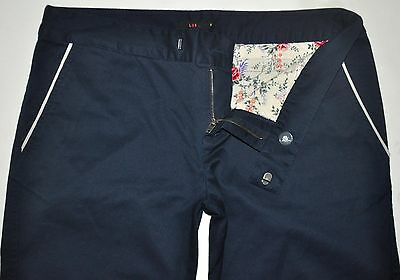 LUX Women's Navy Blue 98% Cotton 2% Spandex Pants Size 6 X 33 Long CUTE