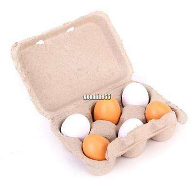 6x Wooden Eggs Yolk Pretend Play Kitchen Food Cooking Kids Children Baby EA9