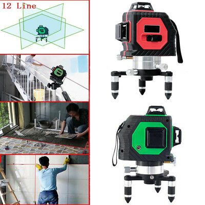 3D Laser Level 12 Line Self Leveling Outdoor 360° Rotary Cross Measure Tool AC