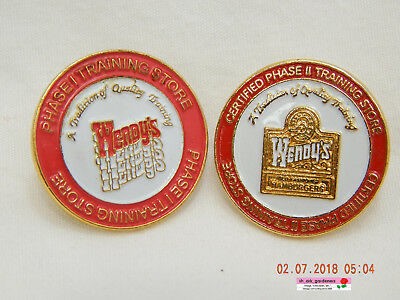 Wendy's:training Store Phase I & Phase Ii-Two (2) Manager & Crew Pinbacks-As Is!