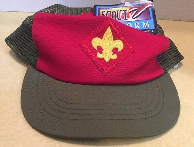 Scout Mesh Cap S/M Olive Green and Red Snap-back Adjustable, NWT