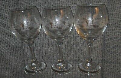 """3 ARBY'S CHRISTMAS WINTER WHITE FROSTED Wine Glasses Water Goblet 7 3/4"""""""
