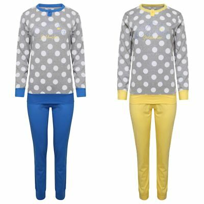 Womens Ladies 100% Cotton Pyjamas Set Lounge Long Sleeve Pjs Polkadot Nightwear