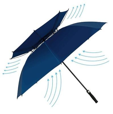 Double Canopy Vented Windproof Golf Umbrella 62 Inch Automatic Open Extra Large