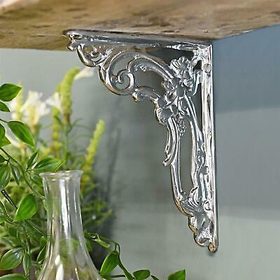 Victorian Style Small Ornate Scroll Bracket Finished in Bright Chrome