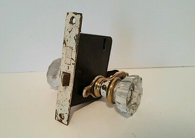 Glass Door Knobs Vintage with Latch and Back Plates 12 facets