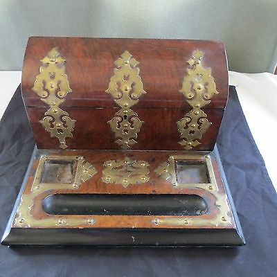 Antique Ornate Decorative Wood Brass Secretary Letter Pen Holder Ink well Tray