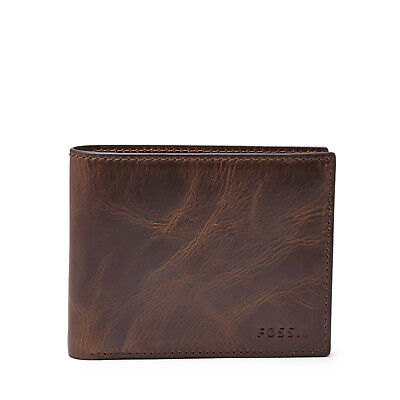 Fossil Original ML3681201 Dark Brown Derrick RF-B Flip ID Bifold Leather Men's