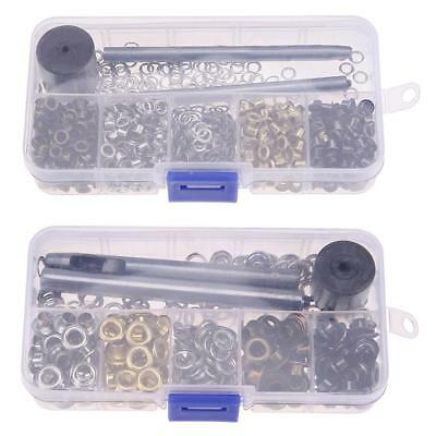 Metal Eyelet Set DIY Leather Hole Clothes Accessories with Knocking Tool Craft #