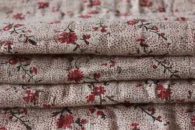 French Antique 18thC Toile de Jouy Floral Linen Indienne Fabric~Dolls/Quilters