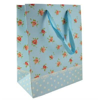 AF0253 TWO BEAUTIFUL PINK FLORALS ECO GIFT BAGS Paper Tags Any Occasion