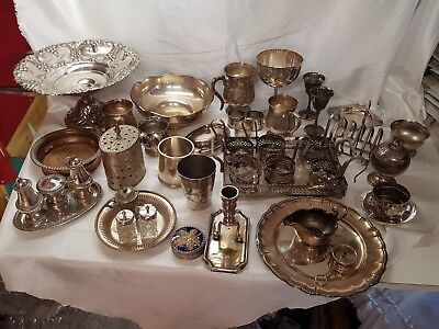 a job lot of 37 vintage silver plated items.8 kgs in weight.