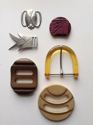 7 Pretty Deco Buckles - 2 Wooden, Honey Amber Lucite, Faux Shell, Metal Beetle