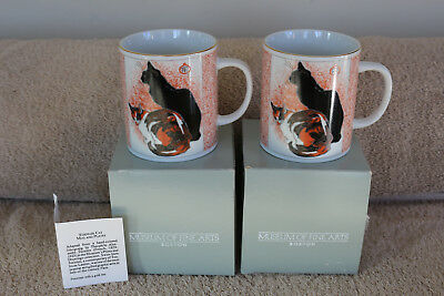2 Museum of Fine Arts Boston, Adapted Litho by French Artist Steinlen Cat Mugs