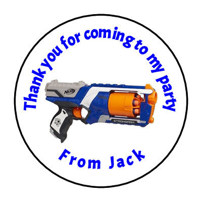 35 x Personalised Nerf Gun birthday thank you stickers, party, sweet cone
