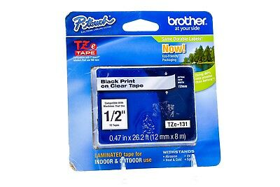 Brother P-Touch TZe-131 Laminated Tape Black Print on Clear Tape