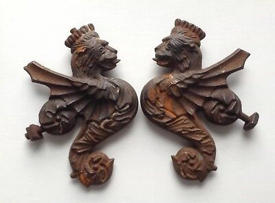 Ornate Heavy Pair Cast Iron 13cm Crowned Lion Head Dragon Winged Hippocampus