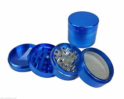 "2.0"" Magnetic Herb Tobacco Spice Grinder Aluminum w/ Scoop Carry Pouch Blue"