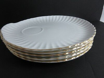 5 Vintage Crown Staffordshire CRS81 SNACK PLATES White Scalloped GOLD TRIM