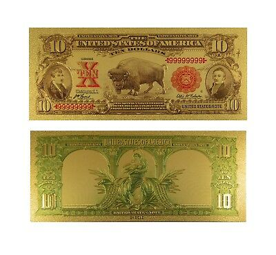 1901 $10 Bill US Gold Banknote Ten Dollar Bison Note with Protective Sleeve