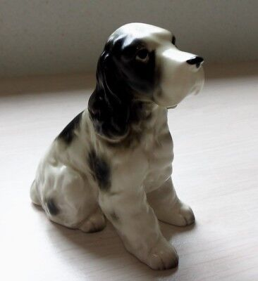 Spaniel DOG Figurine ~ Black & White Parti-Colored - Ceramic Made in Japan Mint!