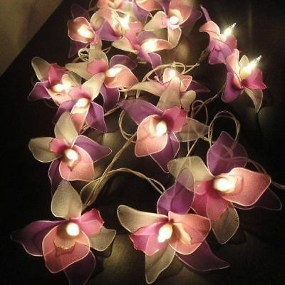 Pink white purple orchid flower fairy lights 20 on 35m string with pink white purple orchid flower fairy lights 20 on 35m string with uk plug mightylinksfo