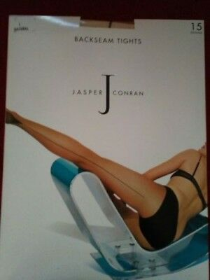 1 pair of natural tights with black backseam, size L by Jasper Conran
